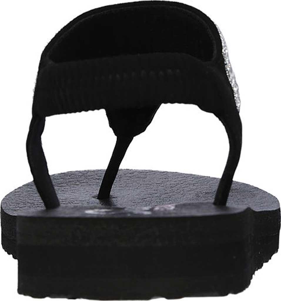 Women's Skechers Meditation Rock Crown Thong Sandal, Black/Silver, large, image 4
