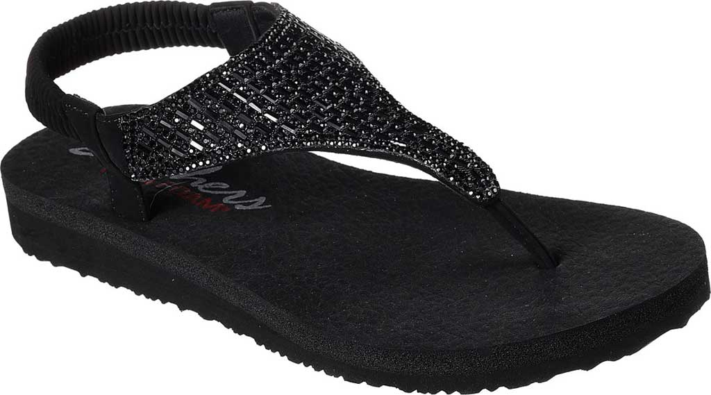Women's Skechers Meditation Rock Crown Thong Sandal, Black, large, image 1