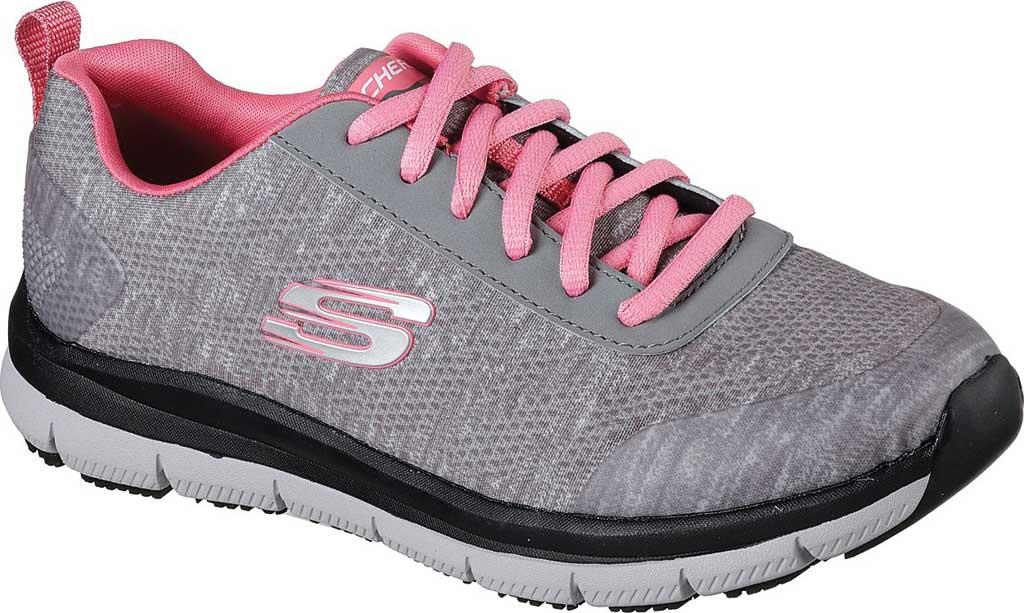 Women's Skechers Work Relaxed Fit Comfort Flex Pro HC SR Sneaker, Gray/Pink, large, image 1