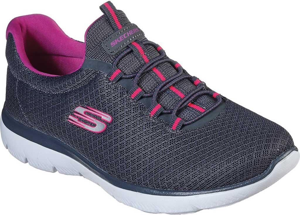 Women's Skechers Summits Sneaker, Charcoal/Purple, large, image 1