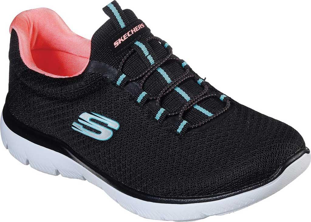 Women's Skechers Summits Sneaker, Black/Pink, large, image 1