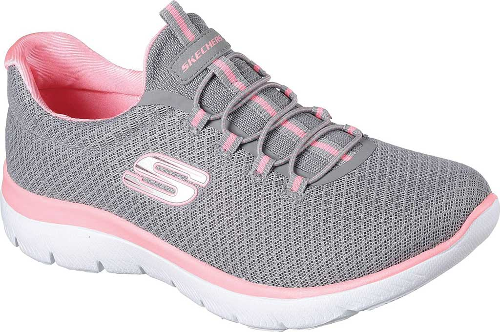 Women's Skechers Summits Sneaker, Gray/Pink, large, image 1