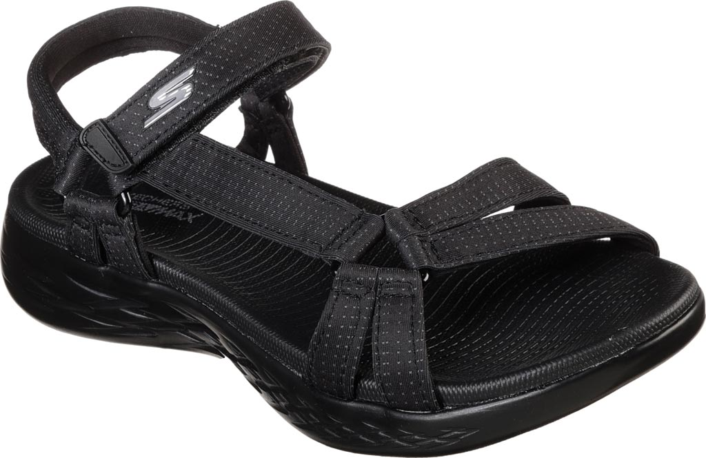 Women's Skechers On the GO 600 Brilliancy Ankle Strap Sandal, Black/Black, large, image 1