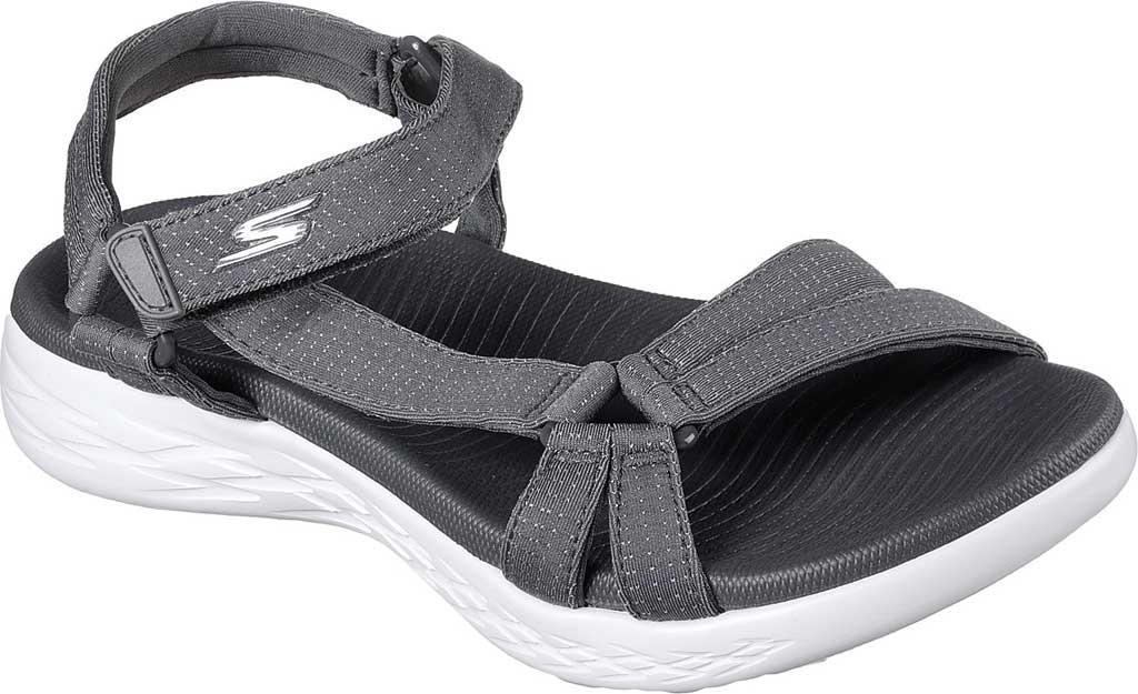 Women's Skechers On the GO 600 Brilliancy Ankle Strap Sandal, Charcoal, large, image 1