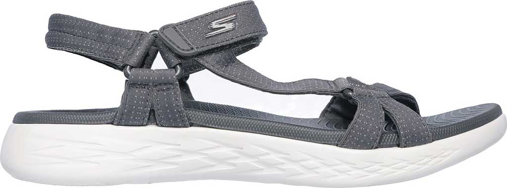 Women's Skechers On the GO 600 Brilliancy Ankle Strap Sandal, Charcoal, large, image 2