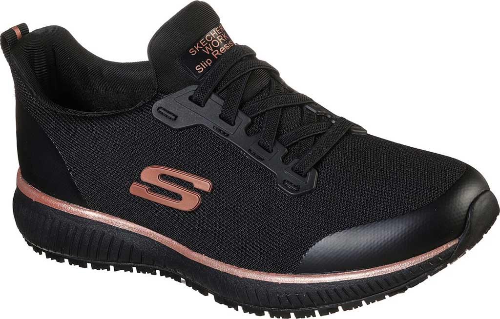 Women's Skechers Work Squad Slip Resistant Sneaker, Black/Rose Gold, large, image 1