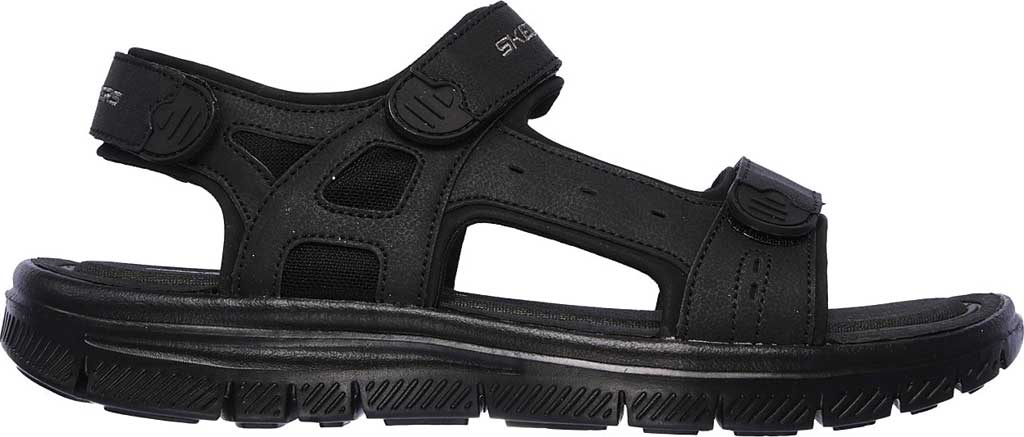 Men's Skechers Flex Advantage S Upwell Sport Sandal, Black/Black, large, image 2