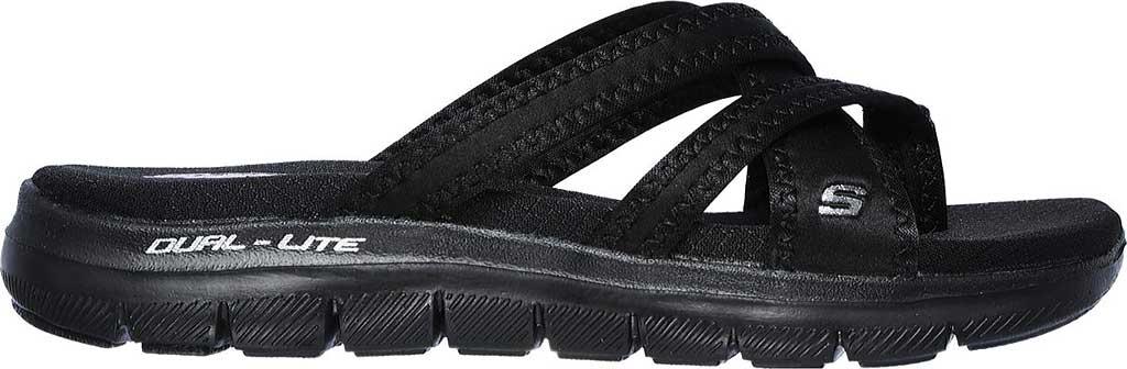 Women's Skechers Flex Appeal 2.0 Start Up Toe Loop Sandal, Black/Black, large, image 2