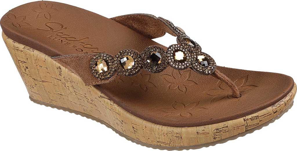 Women's Skechers Beverlee Bizzy Babe Wedge Sandal, Tan, large, image 1
