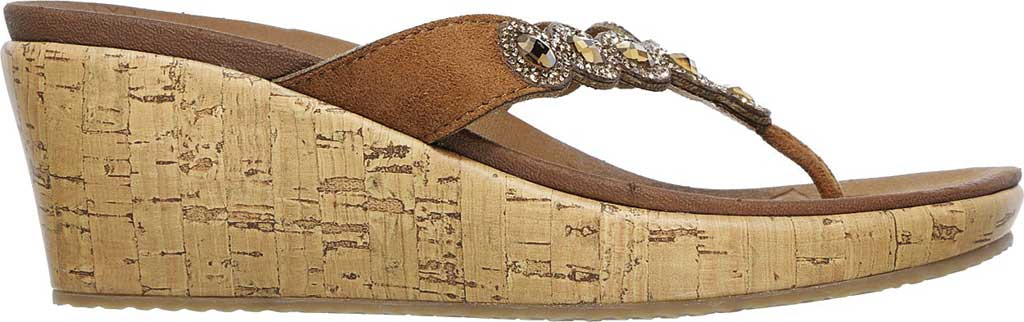 Women's Skechers Beverlee Bizzy Babe Wedge Sandal, Tan, large, image 2
