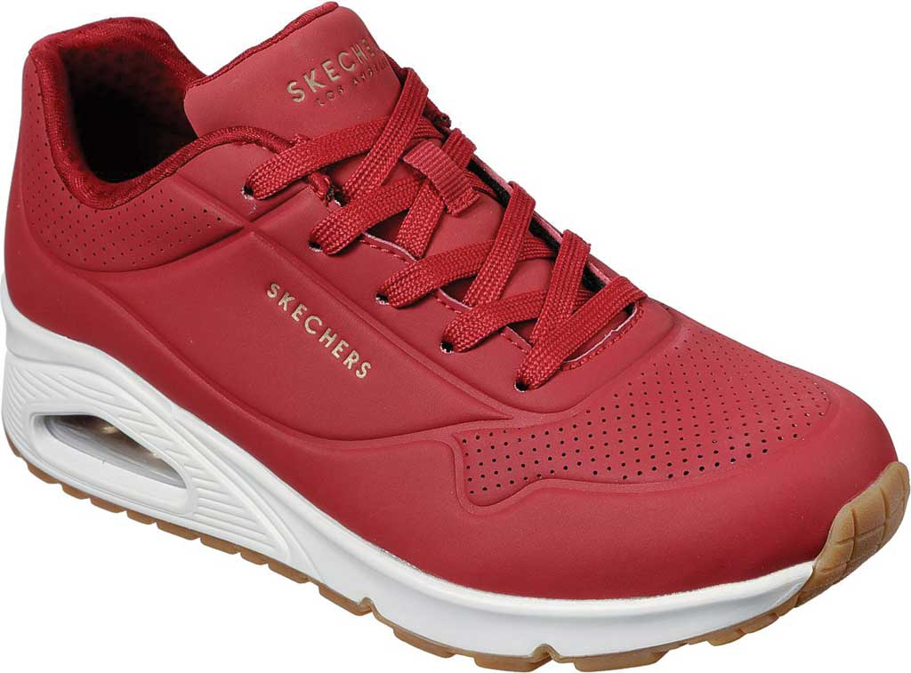 Women's Skechers Uno Stand on Air Sneaker, Dark Red, large, image 1