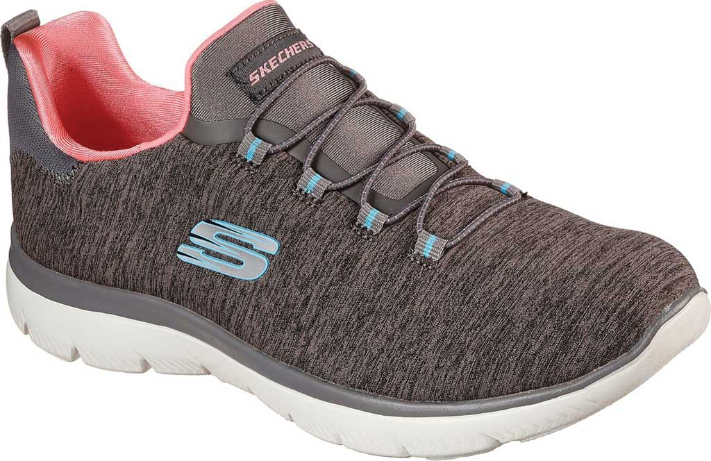Women's Skechers Summits Quick Getaway Sneaker, Gray/Coral, large, image 1