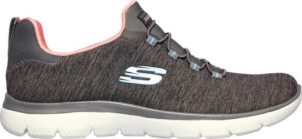 Women's Skechers Summits Quick Getaway Sneaker, Gray/Coral, large, image 2