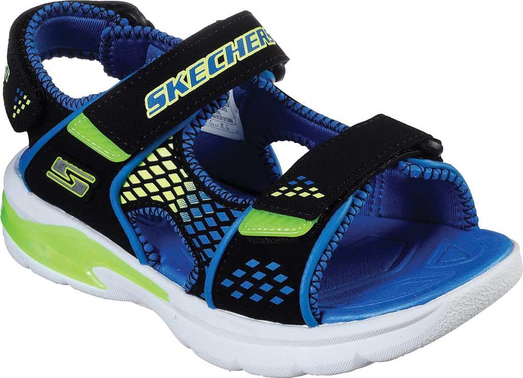 Boys' Skechers S Lights E-II Sandal Beach Glower Sport Sandal, Black/Blue/Lime, large, image 1