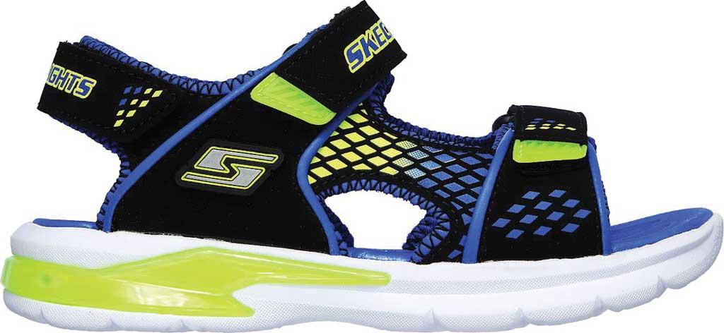 Boys' Skechers S Lights E-II Sandal Beach Glower Sport Sandal, Black/Blue/Lime, large, image 2