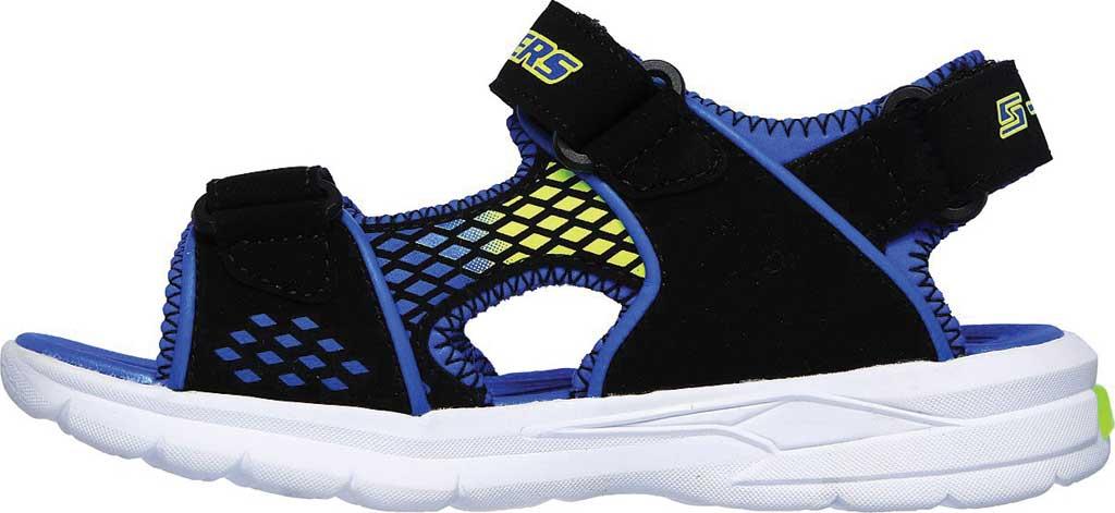 Boys' Skechers S Lights E-II Sandal Beach Glower Sport Sandal, Black/Blue/Lime, large, image 3