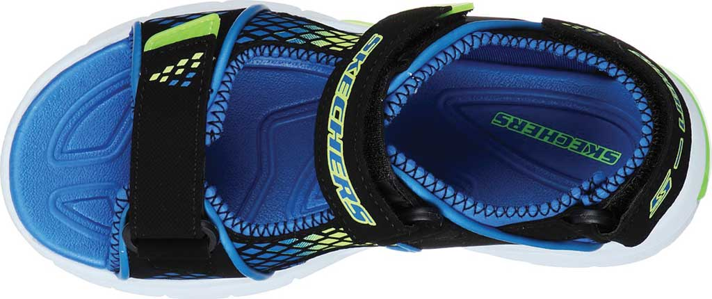 Boys' Skechers S Lights E-II Sandal Beach Glower Sport Sandal, Black/Blue/Lime, large, image 4