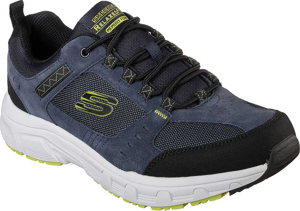 Men's Skechers Relaxed Fit Oak Canyon Sneaker, Navy/Lime, large, image 1