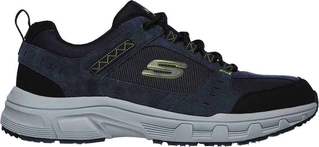 Men's Skechers Relaxed Fit Oak Canyon Sneaker, Navy/Lime, large, image 2