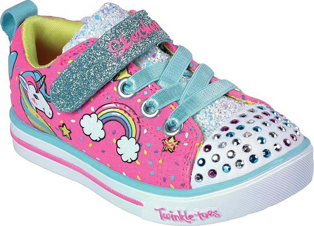 Infant Girls' Skechers Twinkle Toes Shuffles Sparkle Lite Sneaker, Neon Pink/Multi, large, image 1