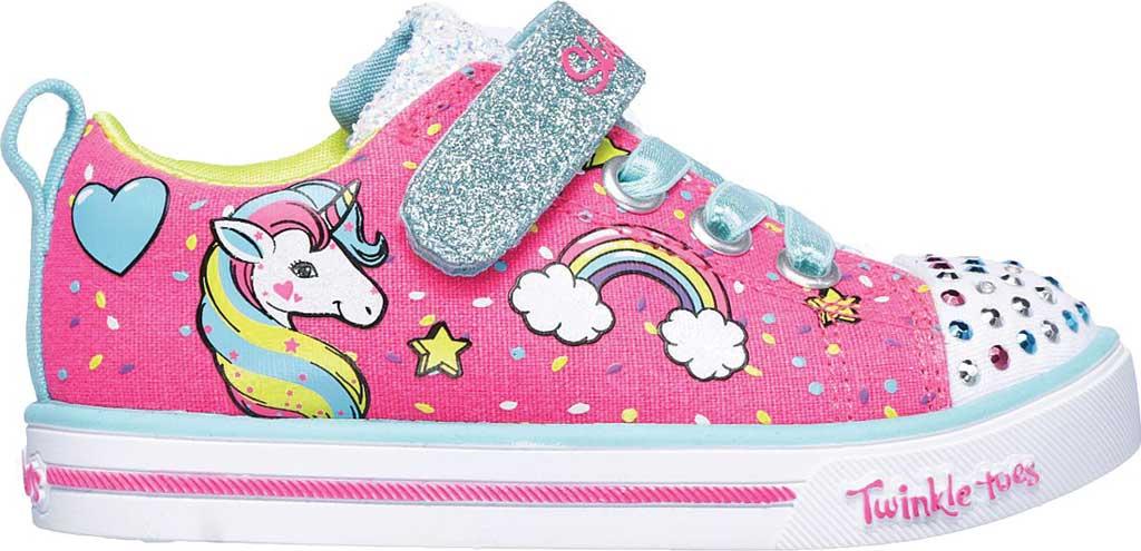 Infant Girls' Skechers Twinkle Toes Shuffles Sparkle Lite Sneaker, Neon Pink/Multi, large, image 2