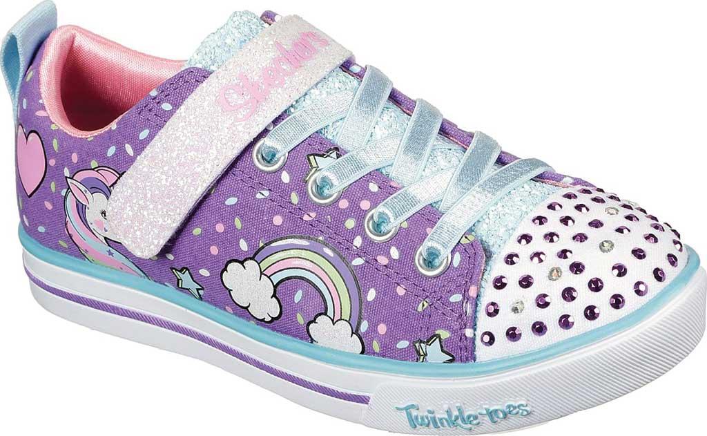 Girls' Skechers Twinkle Toes Shuffles Sparkle Lite Sneaker, Purple/Multi, large, image 1
