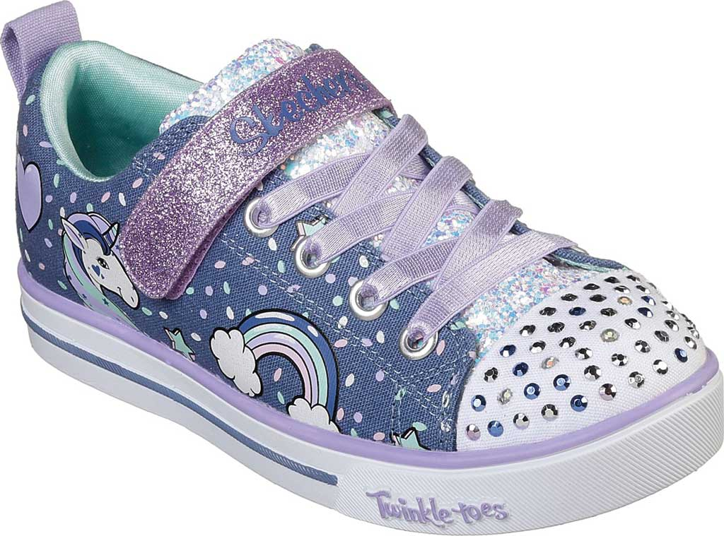 Girls' Skechers Twinkle Toes Shuffles Sparkle Lite Sneaker, Denim/Lavender, large, image 1