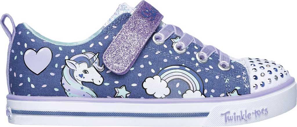 Girls' Skechers Twinkle Toes Shuffles Sparkle Lite Sneaker, Purple/Multi, large, image 2