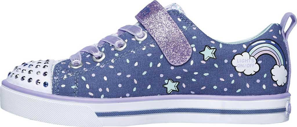 Girls' Skechers Twinkle Toes Shuffles Sparkle Lite Sneaker, Purple/Multi, large, image 3