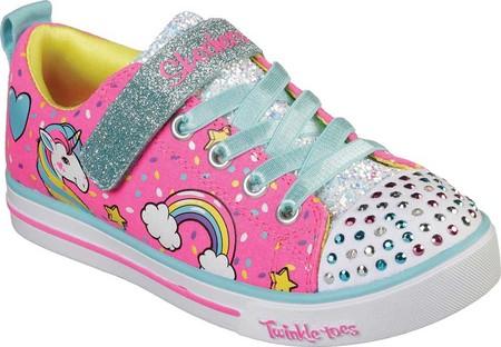 Girls' Skechers Twinkle Toes Shuffles Sparkle Lite Sneaker, Neon Pink/Multi, large, image 1
