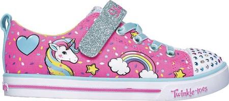 Girls' Skechers Twinkle Toes Shuffles Sparkle Lite Sneaker, Neon Pink/Multi, large, image 2