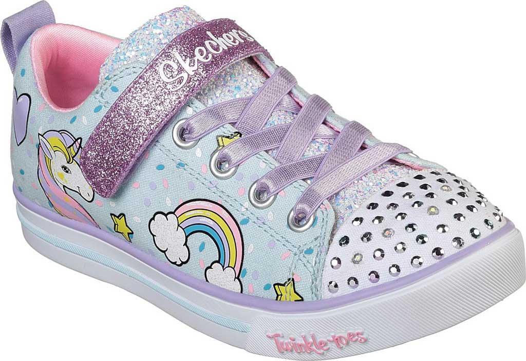 Girls' Skechers Twinkle Toes Shuffles Sparkle Lite Sneaker, Light Blue/Multi, large, image 1