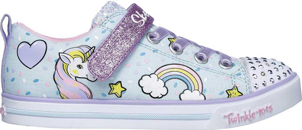 Girls' Skechers Twinkle Toes Shuffles Sparkle Lite Sneaker, Light Blue/Multi, large, image 2