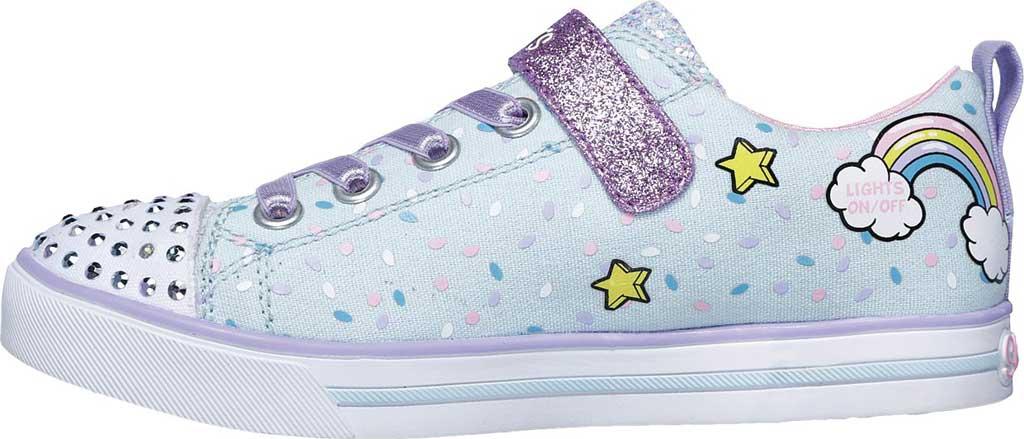 Girls' Skechers Twinkle Toes Shuffles Sparkle Lite Sneaker, Light Blue/Multi, large, image 3