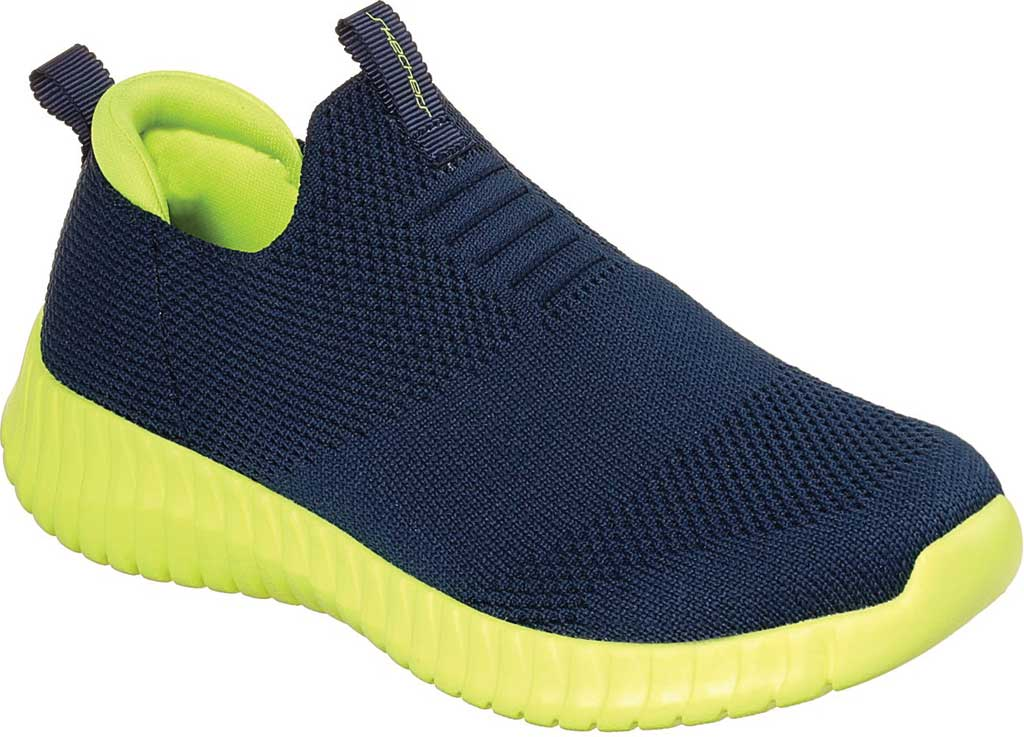 Boys' Skechers Elite Flex Wasick Slip-On Sneaker, Navy/Lime, large, image 1