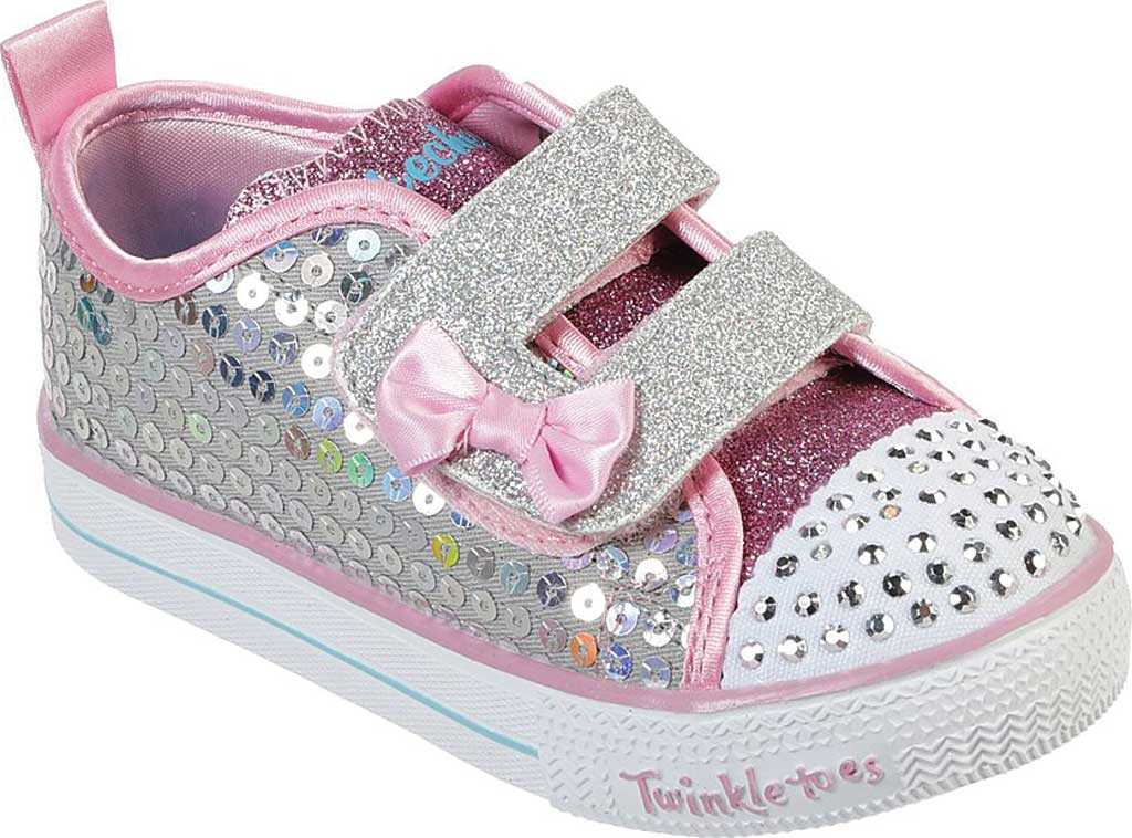 Infant Girls' Skechers Twinkle Toes Shuffle Lite Mini Mermaid Sneaker, Silver/Multi, large, image 1