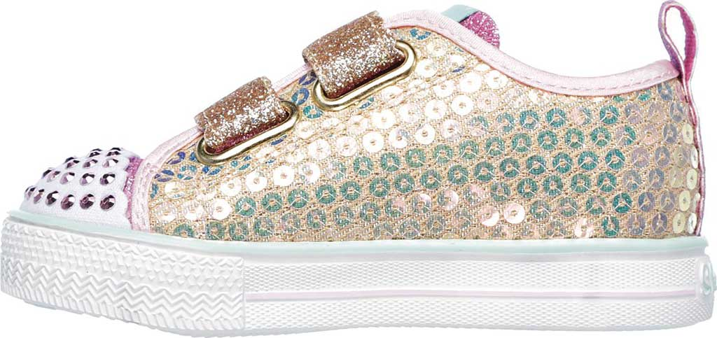 Infant Girls' Skechers Twinkle Toes Shuffle Lite Mini Mermaid Sneaker, Gold, large, image 3