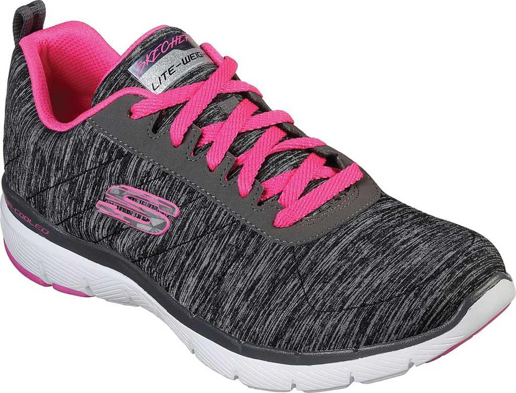 Women's Skechers Flex Appeal 3.0 Insiders Sneaker, Black/Hot Pink, large, image 1