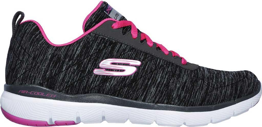 Women's Skechers Flex Appeal 3.0 Insiders Sneaker, Black/Hot Pink, large, image 2