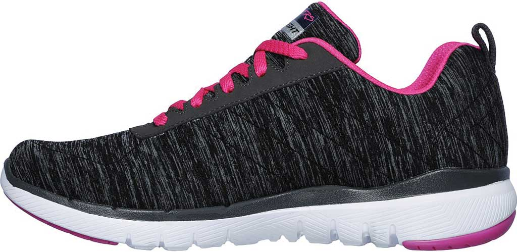 Women's Skechers Flex Appeal 3.0 Insiders Sneaker, Black/Hot Pink, large, image 3
