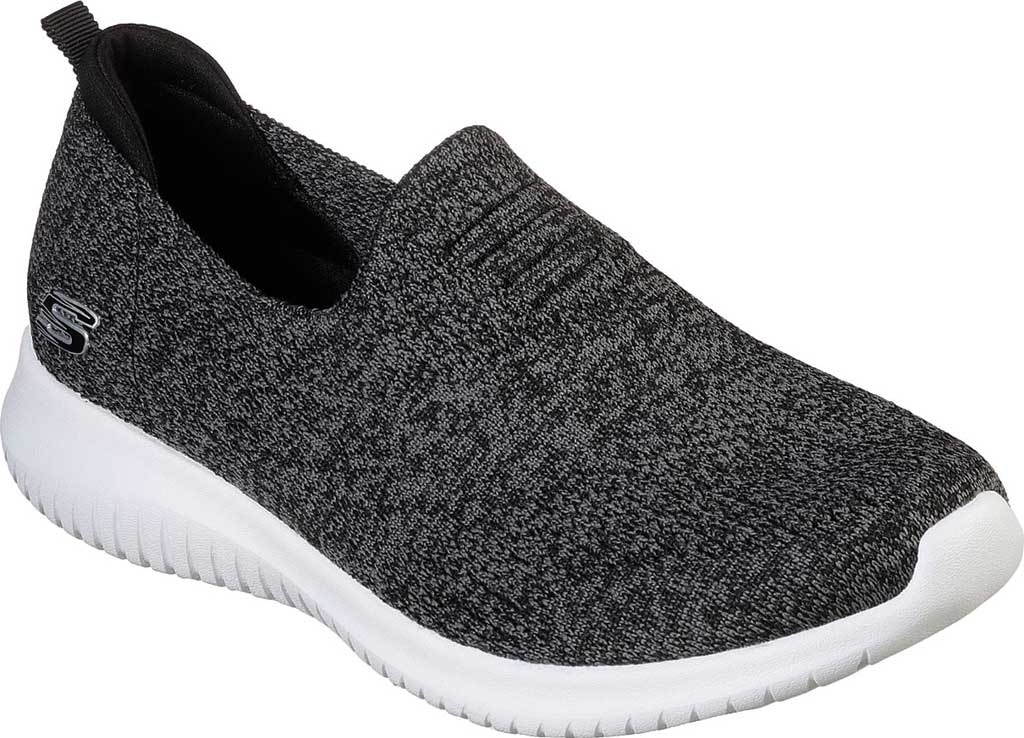Women's Skechers Ultra Flex Harmonious Slip On Sneaker, Black/White, large, image 1