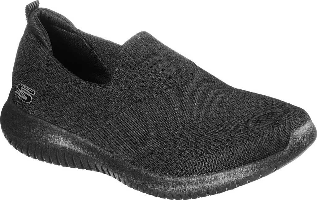 Women's Skechers Ultra Flex Harmonious Slip On Sneaker, Solid Black/Black, large, image 1