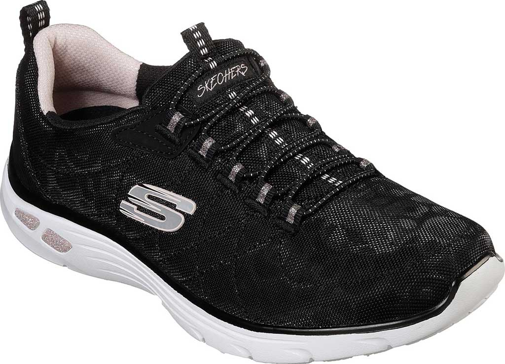 Women's Skechers Relaxed Fit Empire D'Lux Spotted Sneaker, Black/Rose Gold, large, image 1
