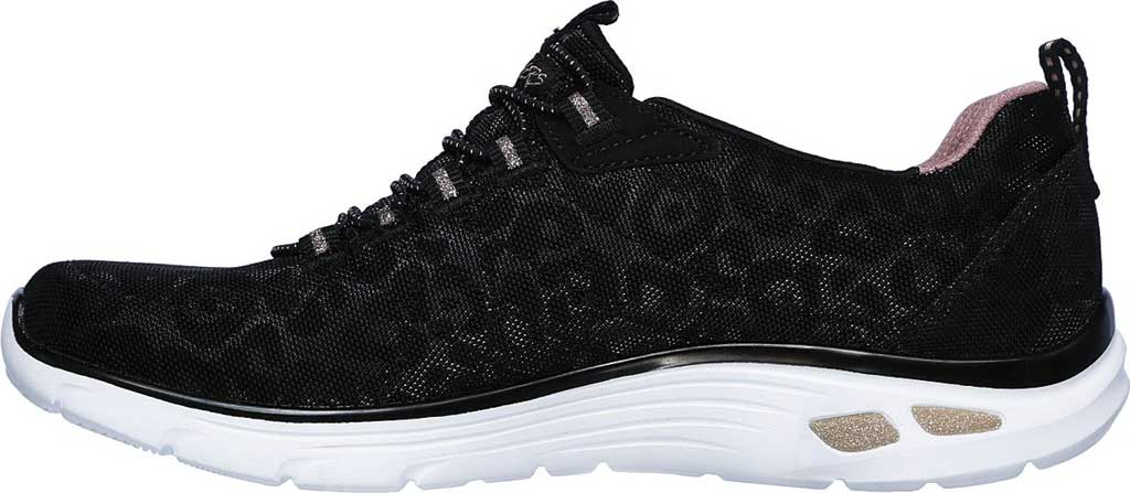 Women's Skechers Relaxed Fit Empire D'Lux Spotted Sneaker, Black/Rose Gold, large, image 3