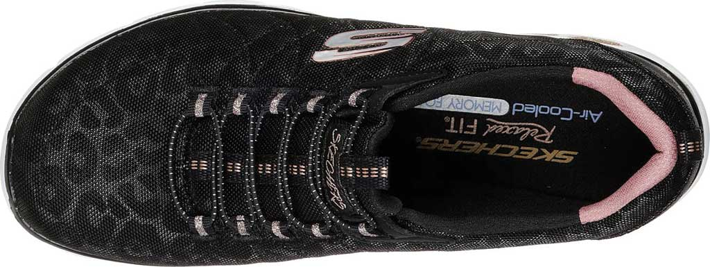 Women's Skechers Relaxed Fit Empire D'Lux Spotted Sneaker, Black/Rose Gold, large, image 5