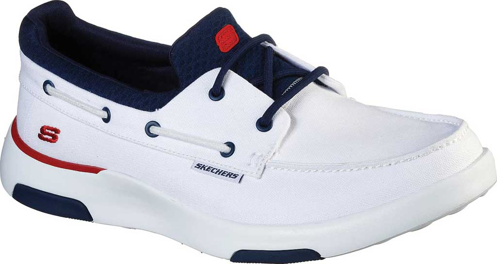 Men's Skechers Bellinger Garmo Boat Shoe, White/Navy, large, image 1