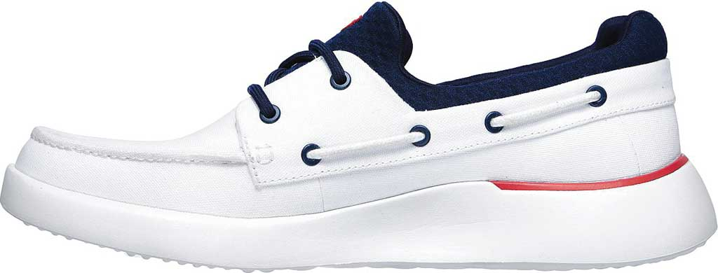 Men's Skechers Bellinger Garmo Boat Shoe, White/Navy, large, image 3