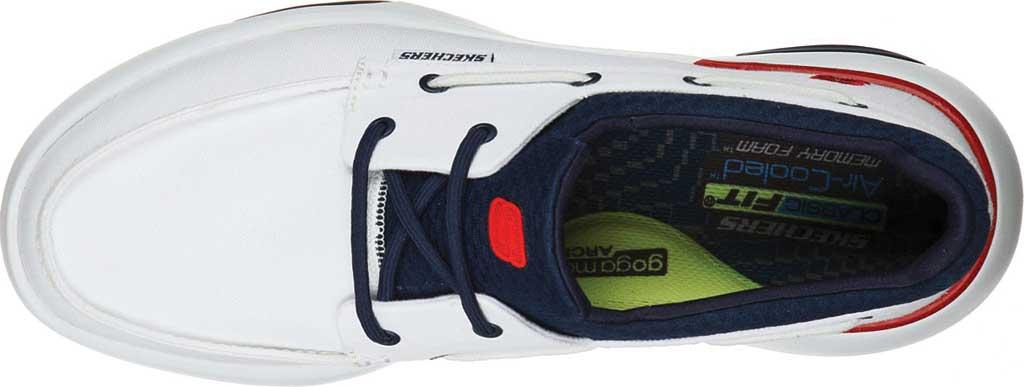 Men's Skechers Bellinger Garmo Boat Shoe, White/Navy, large, image 4