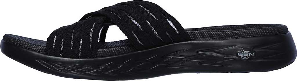 Women's Skechers On the GO 600 Sunrise Slide Sandal, Black/Black, large, image 3