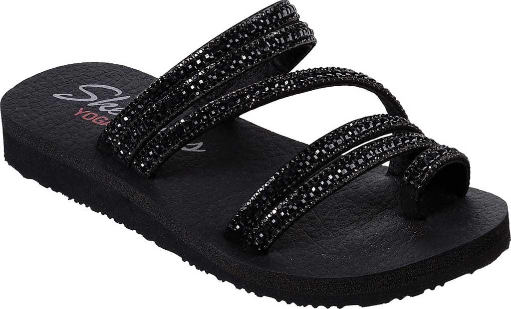 Women's Skechers Meditation Glam Flash Toe Loop Sandal, Black/Black, large, image 1